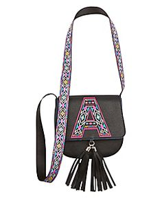 Initial Tribal Strap Crossbody Bag