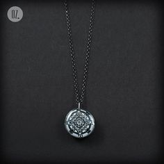 White Mandala Mini silver handmade necklace pendant