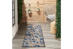 Nourison Aloha 10' Runner Blue Patio Area Rug | Ashley Furniture HomeStore Outdoor Runner Rug, Indoor Outdoor Area Rugs, Outdoor Areas, Outdoor Living, Positano, All You Need Is, Blue Patio, Power Loom, Online Home Decor Stores