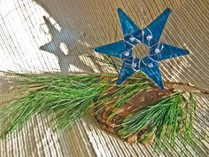 Handmade Glass Star Ornament / Teacher's gift / Suncatcher / Hanukkah Star - Deep Aqua Blue    #suncatcher #GlassStar #BrightBlue #CindiHardwicke #ChristmasGift #AquaBlue #ornament #decoration #HairdresserGift #CyberMondaySale