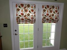 Roman Shades work very well on French Doors. Choose the fabric, style and lift system that works for you! By Budget Blinds of Susquehanna Valley. www.budgetblinds.com