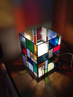 Stained glass lamp, rainbow of colour by Wendysglasshouse on Etsy