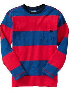 Boys Striped Slub-Knit Pocket Tees