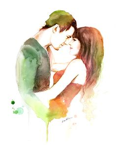 Watercolor painting -  Channig Tatum, Couple in Love