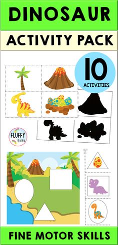 This NO-PREP Dinosaur Activities for Preschool (Distance Learning) pack is created especially for preschoolers in mind, age years old. Fun-filled with adorable baby dinosaurs, your little ones would definitely ask for more! Dinosaurs Preschool, Dinosaur Activities, Motor Skills Activities, Fine Motor Skills, Baby Dinosaurs, Dinosaur Printables, Preschool Printables, Preschool Centers, Kindergarten Fun