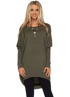 Laetitia Mem Green Oversized Jumper With Key Chain Necklace £35