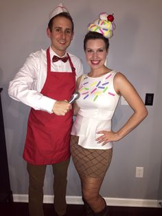 One of my friends made an awesome homemade ice cream cone and ice cream scooper costumes!
