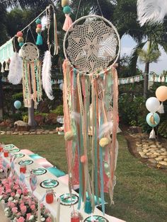 These wouldn't cute and easy as well, just go to second hand stores and grab a bunch of doilies and grab some embroidery hoops and add your feathers or flowers Third Birthday Girl, Wild One Birthday Party, Baby Party, Baby Birthday, First Birthday Parties, First Birthdays, Bohemian Birthday Party, Coachella Birthday, Baby Shower Boho