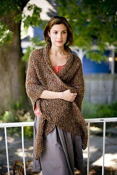 Honest Warmth Shawl Pattern - free on Ravelry. (Bulky yarn - for that brownish black yarn?)