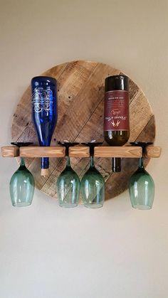 Wine Rack, Wine Bottle, Wine Bottle Holder, Wine Glasses,Reclaimed Pallet Wood Wine Rack, With Glasses. Wine Rack Gift. Wall Hanging Rack.