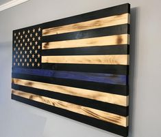Police American Flag, Police Flag, Wooden American Flag, Police Officer Gifts, Wooden Flag, Police Gifts, Thin Blue Line Flag, Thin Blue Lines, Gifts For Office