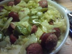 Boiled Cabbage with Smoked Sausage and Peppers