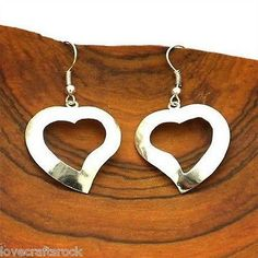 Silver-Earrings-Large-Heart-Drop-Dangling-Long-Alpaca-Handmade-Hypoallergenic