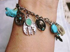 Vintage Southwest Turquoise Accented Charm Bracelet - Cowgirl Charmer by dazzledbyvintage on Etsy