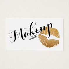 modern calligraphy makeup artist lips gold glitter business card - professional gifts custom personal diy