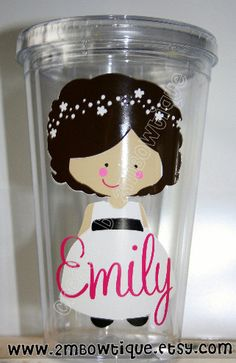 Flower Girl Personalized Tumbler Cup Great gift by 2MBowtique, $15.00
