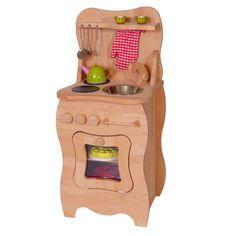 Kinder-Spielküche aus massivem Buchenholz – schwungvolles Design – schmal gehalten für jedes Kinderzimmer geeignet - mit Schrank Herd und Spüle