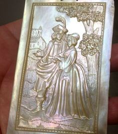 Antique Fine Carved Mother of Pearl French 17th Century Courtship Scene