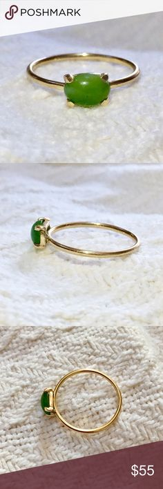 Solid 10k gold cabochon nephrite jade ring Elegant cabochon nephrite jade ring.  The stone is 5.5mm x 7.5mm.  It is set in solid 10k gold, unmarked but tested to be 10k.  Size 6.5, .7 grams.  Great condition. Jewelry Rings