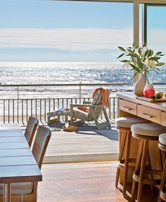 Happy Wednesday everyone! Here is a beach house for you! This modern house is located on the Long Island sound has as all ocean-facing bedrooms and sea inspired furniture. Beautiful massive views and a grand expansive deck allows the homeowners to enjoy this sophisticated getaway. Click here to see more. Related