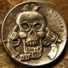 BEN WELLS HOBO NICKEL - SKULL, GUNS, PISTOLS - 1937 BUFFALO NICKEL Hobo Nickel, Pistols, Wells, Buffalo, Coins, Skull, Carving, Rooms, Guns