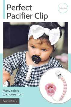 Personalised Dummy Clip Pacifier Chain Strap for Baby Boy Without Bow Any Name Baby Girl by Grosgrain Ribbon in Many Colour with Bow