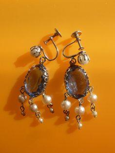 Vintage 1940 BEAUTIFUL EARRINGS CHANDELIER  pearls by RAKcreations, $52.00