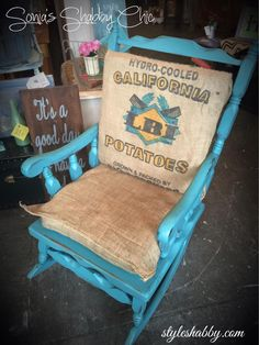 Re-purposed potato sacks into burlap cushions. Hand painted rocking chair in our Teal River Junk Monkey chalky paint! www.styleshabby.com