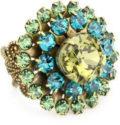 """Arco Iris"" Swarovski Elements Filigree Starburst Crystal Cocktail Adjustable Ring #unusualengagementrings"