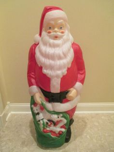 "Vintage EMPIRE 46"" Tall Plastic Blow Mold SANTA CLAUS w Bag of Toys Lights Up!"