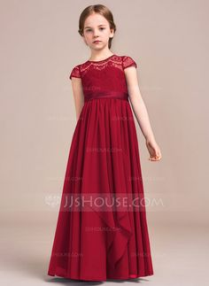 A-Line/Princess Scoop Neck Floor-Length Chiffon Lace Junior Bridesmaid Dress With Bow(s) Cascading Ruffles (009081151)