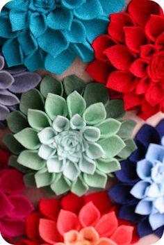 felt dahlia brooches would make great barrettes