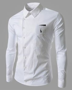 Cheap collar sex, Buy Quality shirt collar directly from China shirt work Suppliers: Brand New Men's Casual Shirt Embroidery Giraffe Social Solid Color Shirt Full Sleeve Turn Down Collar Chemise Fashion, Formal Shirts For Men, Camisa Formal, Shirt Embroidery, Collar Shirts, Shirt Style, Long Sleeve Shirts, Shirt Designs, Men Casual