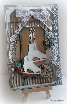 Christmas card shabby chic figure skating marianne dies tag