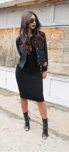 Edgy look | Black pencil dress with black denim vest and leather open toe booties