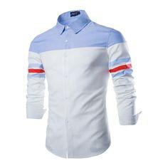 Camisa Casual Esporte Retalhos Slim Fit Masculina Manga Longa cor Branca