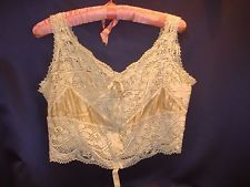 Very Pretty C1900-20 Bobbin Lace + Silk Bien Jolie Brassiere Camisole Sz 40