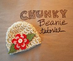 """""""Chunky Beanie w Felt Flower"""" free crochet tutorial-sizes 0-3, 3-6, and 6-12 months- (FILED)"""