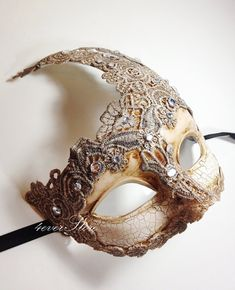 Venetian Goddess Masquerade Mask Made of Resin, Paper Mache Technique with High Fashion Macrame Lace & Diamonds