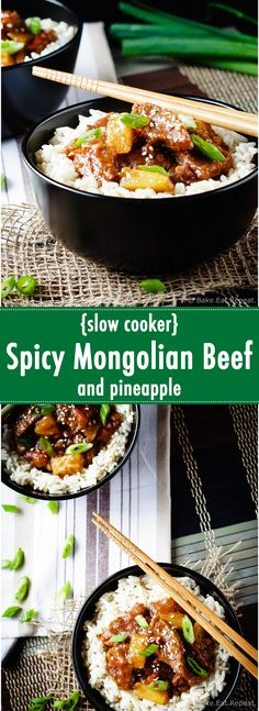 Spicy Mongolian beef and pineapple made in the slow cooker - a super easy meal to make at home that is even better then takeout!