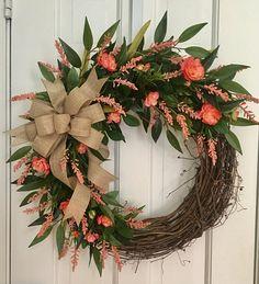 Spring Grapevine Wreath, Farmhouse Wreath, Coral Wreath, Peach Wreath, Summer Wreath, Front Door Wreath, Floral Wreath, Elegant Wreath