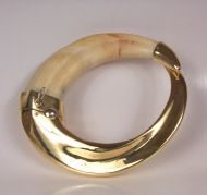 Warthog tusk bracelet with 18k gold