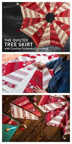 DIY Quilted  Christmas Tree Skirt Pattern + Video Class - Precuts friendly