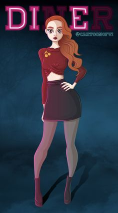Cheryl blossom riverdale art girl cute @cartoonofvi