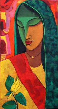 """""""A Priestess is a woman who helps others connect to the divine so that they can heal and/or actualize their soul's unique path."""" ~ Dara McKinley - Art: """"Divine Feminine"""" ~ by Avinash Mokashe Indian Folk Art, Indian Artist, Indian Art Paintings, Oil Paintings, India Art, Aboriginal Art, Art Auction, African Art, Les Oeuvres"""