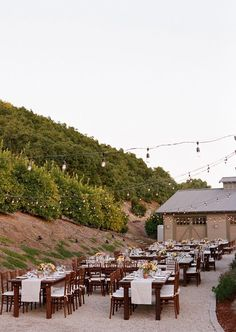 Outdoor reception + cafe lights // Ranch wedding by Raya Carlisle