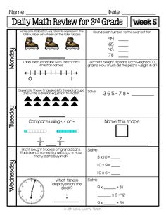 Six week set of spiral Daily Math Review for 3rd grade available now! * Time, money, and paper saver! * One sheet of paper front and back per student per week. * Click to download today! * Designed to review all common core standards throughout the year. #thirdgrade #commoncoremath #spiralreview