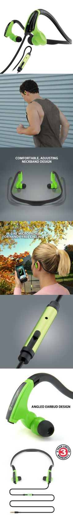 GOgroove AudiOHM CFT Green Sports Fitness Neckband Headphones for Running Jogging Hiking Cycling Gym - Works with Sony Xperia Z3 , Motorola Moto G (2nd Gen) , Samsung Galaxy EDGE & more!