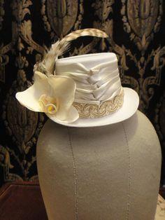 Ivory Steampunk   Mini White Top Hat Bride Garden by HikariDesign, $45.00