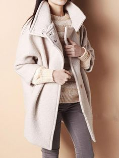 Beige Ovoid Coat with Single Breasted - Fashion Clothing, Latest Street Fashion At Abaday.com
